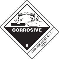 Corrosive Liquids DOT Placard Shipping Labels
