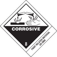 Corrosive DOT Placard Shipping Labels