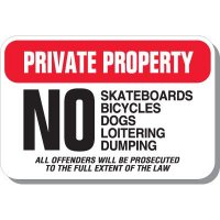 Private Property No Skateboards Sign