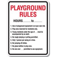 Playground Numbered Rules Signs