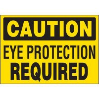 Caution Eye Protection Required Labels