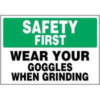 Safety First Wear Goggles Labels
