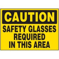 Caution Safety Glasses Required Labels