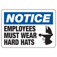 Protective Wear Signs - Notice Employees Must Wear Hard Hats