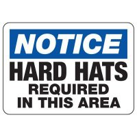 Protective Wear Signs - Notice Hard Hats Required In This Area
