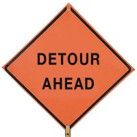 """DETOUR AHEAD - 36"""" H x 36"""" W Mesh Non-Reflective Warning Construction Sign"""