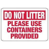 Do Not Litter Trash Sign
