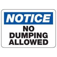 No Dumping Allowed Trash Sign