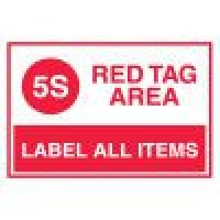 Red Tag Area Signs - 5S Red Tag Area Label All Items