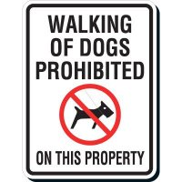 Reflective Parking Lot Signs - Walking Of Dogs Prohibited