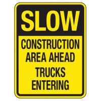Reflective Traffic Reminder Signs - Slow Construction Area