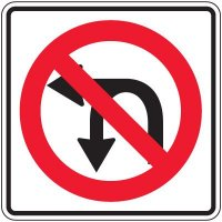 Reflective Traffic Signs - No Left Turn Or U-Turn Symbol
