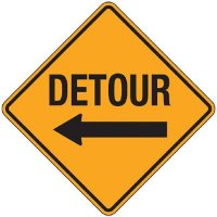 Reflective Warning Signs - Detour (With Arrow)
