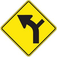 Reflective Warning Signs - Intersection/Turn In The Road (Symbol)