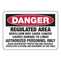 Regulated Area Beryllium - Chemical Warning Signs