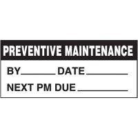 Preventive Maintenance Removable Write-On Status Labels