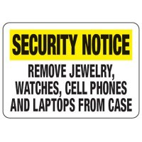 Remove Jewelry, Watches, Cell Phones - Metal Detector Inspection Signs