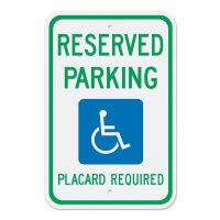 Reserved Handicapped Parking Placard Sign