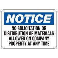 Notice No Solicitation Signs