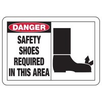 Safety Alert Signs - Danger Safety Shoes Required In This Area