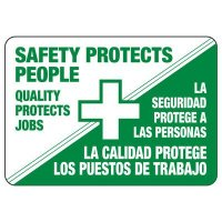 Bilingual Safety Protects People Sign