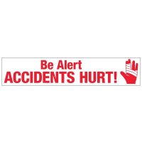 Slogan Mirror Labels - Be Alert Accidents Hurt