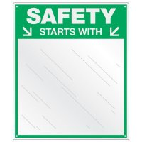 Safety Slogan Mirror Signs - Safety Starts With (You)