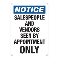 Salespeople and Vendors By Apointment - Visitor Signs