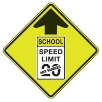 School Speed Limit - Semi-Custom Fluorescent Pedestrian Signs