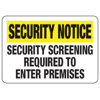 Security Screening Required - Metal Detector Inspection Signs