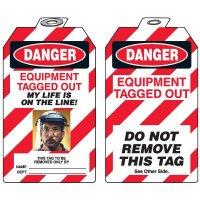 Self-Laminating Photo Padlock Tags - Danger Equipment Tagged Out