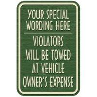 Semi-Custom Designer Parking Signs - Violators Will Be Towed