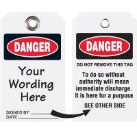 Custom Danger Discharge Duro-Tag