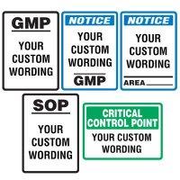 Semi-Custom Food Facility Signs - Notice GMP