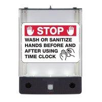 Seton Safety Sign Alerter Kit - Wash Or Sanitize Hands Before And After Using Time Clock