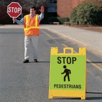 """STOP For Pedestrians - 24"""" H x 12"""" W x 0.25"""" D Plastic Diamond-Grade Portable Warning A Board Sign"""