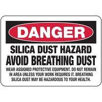 Silica Dust Hazard Avoid Breathing Dust - Silica Safety Signs