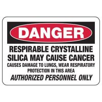 Respirable Silica May Cause Cancer - Silica Safety Signs