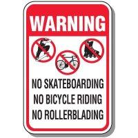 Warning No Skateboarding Sign