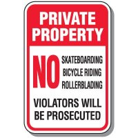 Private Property No Skateboarding Sign