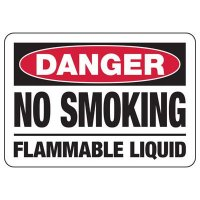 Danger No Smoking Flammable Liquid Sign