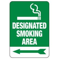 Designated Smoking Area Sign (Left Arrow)