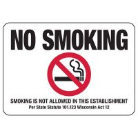 Wisconsin No Smoking Sign