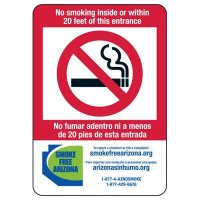 Bilingual AZ Smoke-Free Workplace Signs - No Smoking Inside
