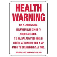 Arkansas Smoke-Free Workplace Law Signs - Health Warning
