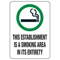 Utah Smoke-Free Law Signs - Establishment Is A Smoking Area