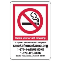Arizona Thank You For Not Smoking Sign