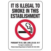 Rhode Island Illegal To Smoke Sign