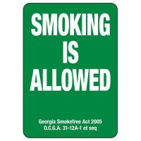 Georgia Smoking Is Allowed Sign