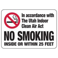 Utah Clean Air Act No Smoking Sign